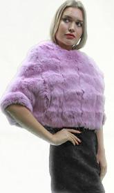 Lavender Knit Rex Rabbit Fur Capelet