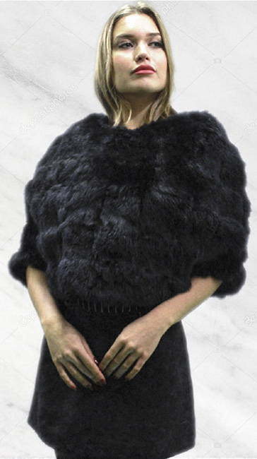 Black Rex Rabbit Fur Capelet