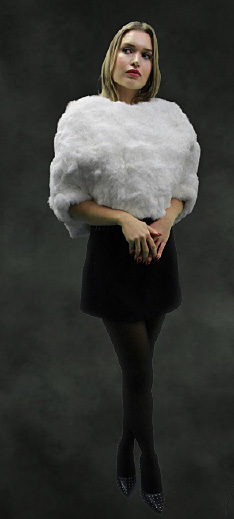 White Rex Rabbit Fur Capelet