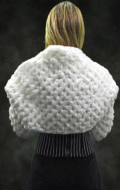 White Knit Rex Rabbit Fur Bolero