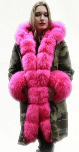 Green Camouflage Pink Fox Fur Trim
