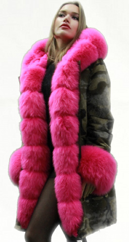 Green Camouflage Pink Fox Fur Trim