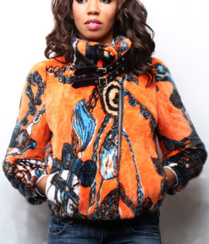 Orange Mink Bomber