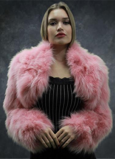 Light Pink Fox Fur Jacket