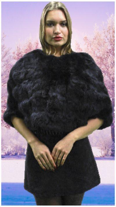 black rex rabbit fur caplet