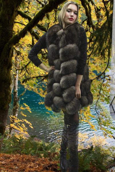 Brown Fox Directional Fur Vest