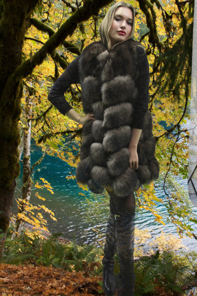 Brown Fox Directional Fur Vest