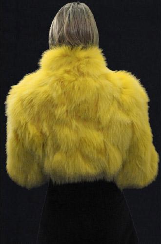 Yellow Fox Fur Jacket