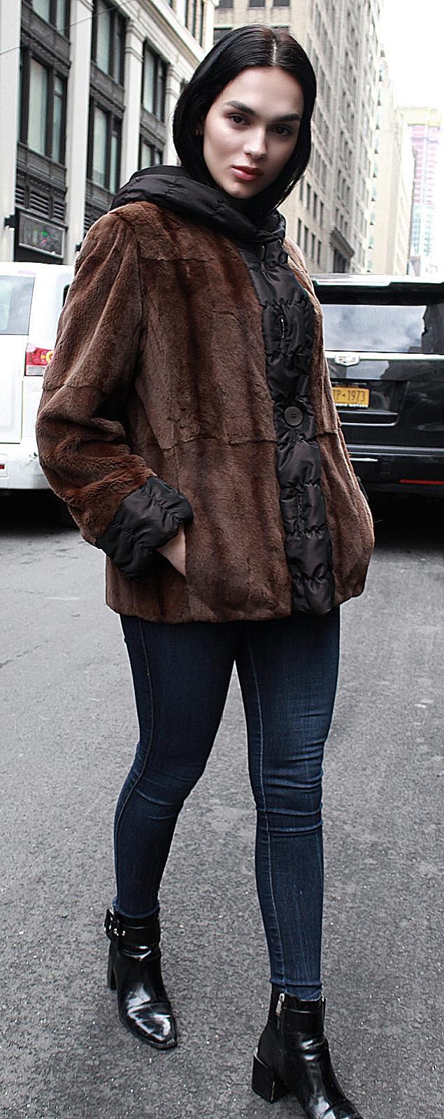 sheared mink fur cape
