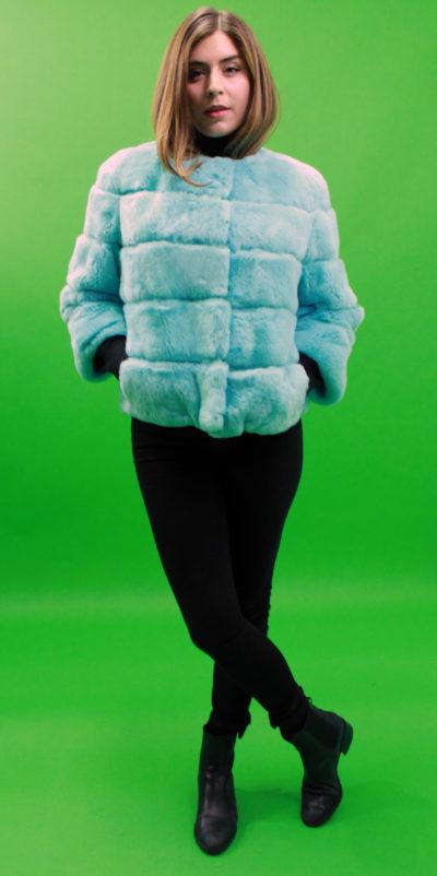Powder Blue Rex Rabbit Fur Jacket