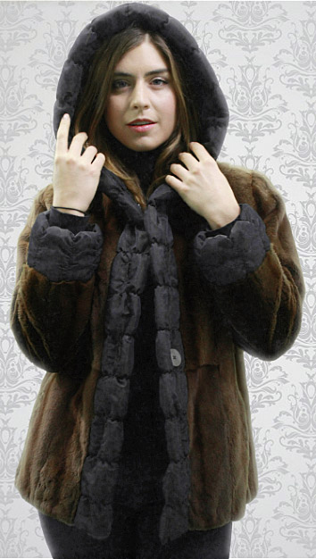Brown Sheared Mink Fur Reversible Jacket Hood