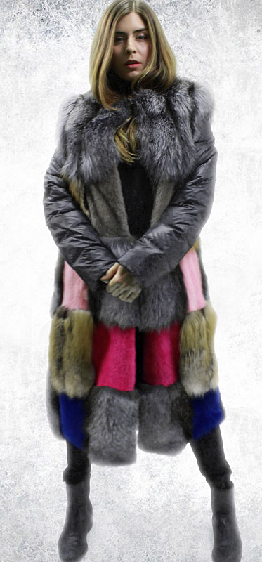 Patchwork Mink Fur Fox Fur Coat
