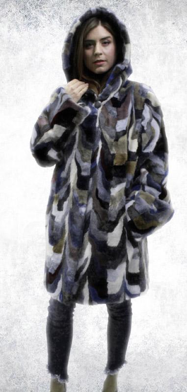 Multi Color Mink Fur Stroller Hood