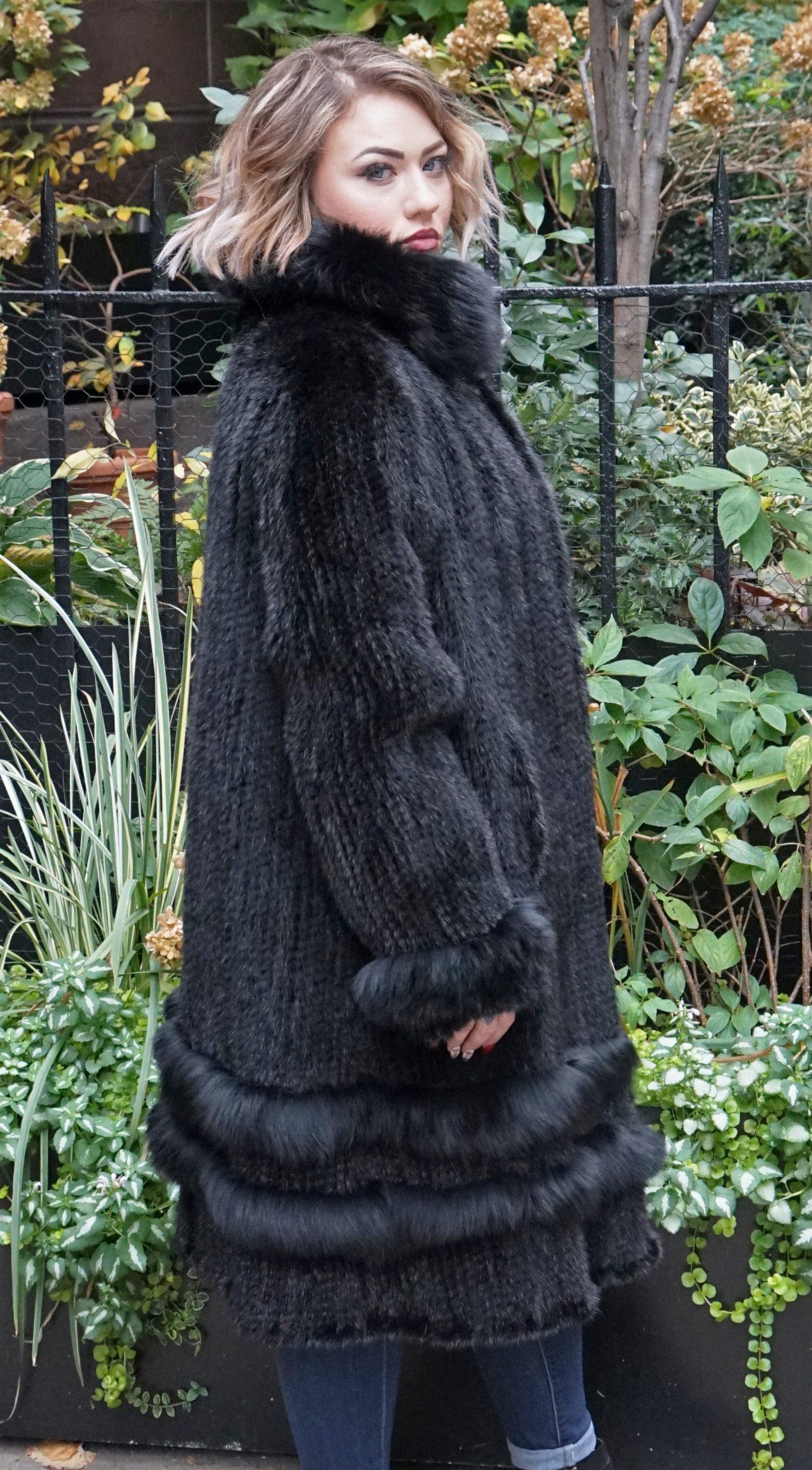 Black Knit Mink Stroller Matching Fox