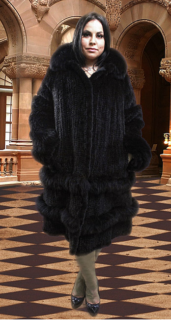 Plus Size Black Knit Mink Stroller Matching Fox