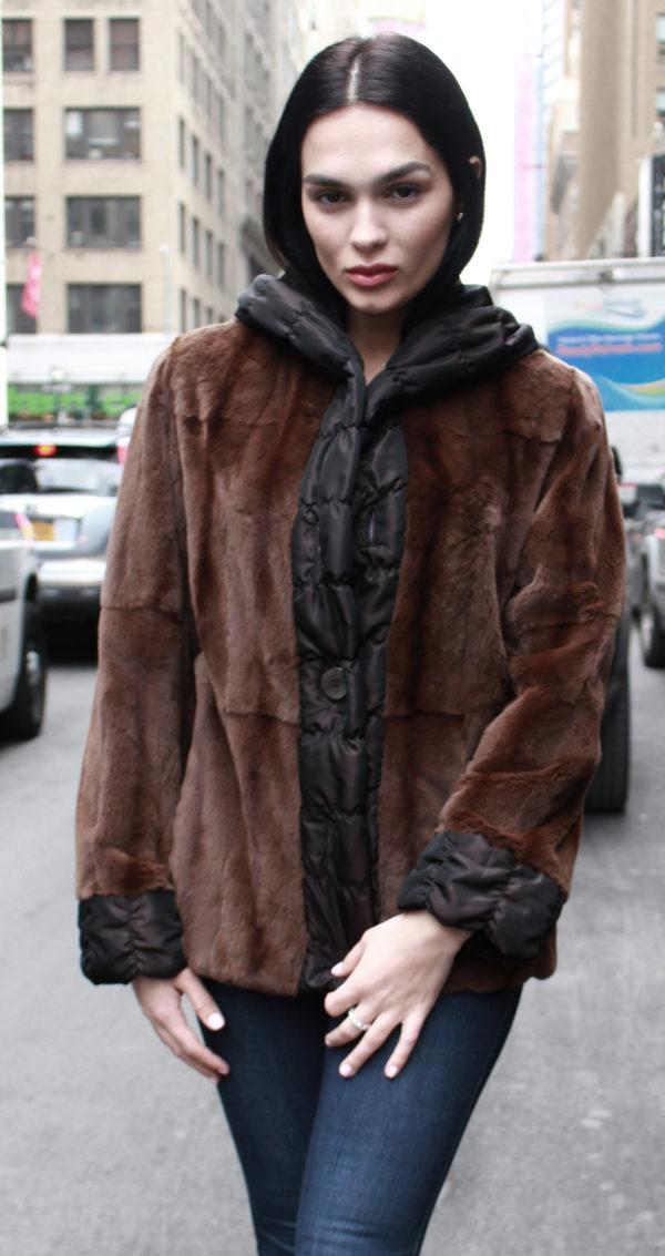 Brown Sheared Mink Fur Reversible Jacket Hood