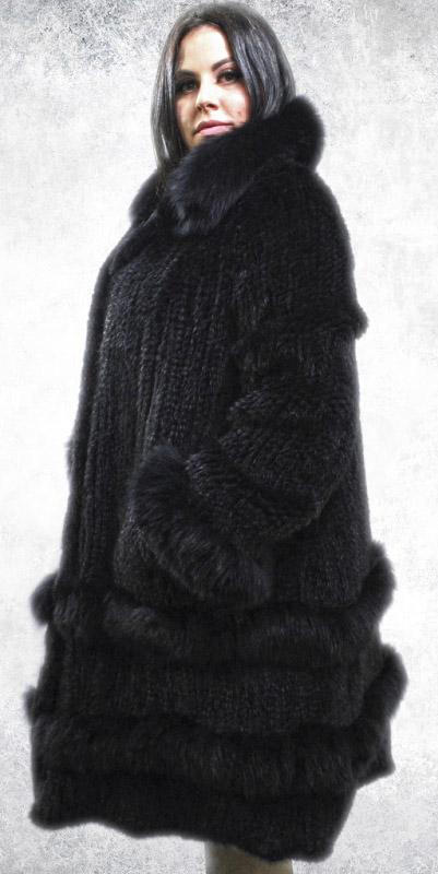 Plus Size Black Knit Mink Stroller Matching Fox