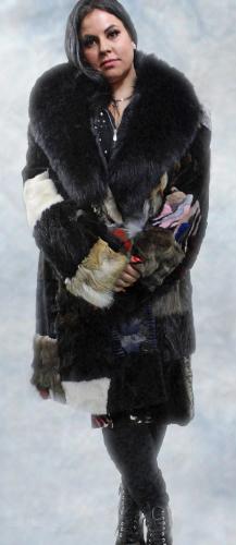 Throw Back Patchwork Mink Fur Coat Fox Fur Collar