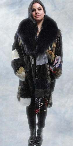Throw Back Patchwork Mink Fur Coat Fox Fur Collar