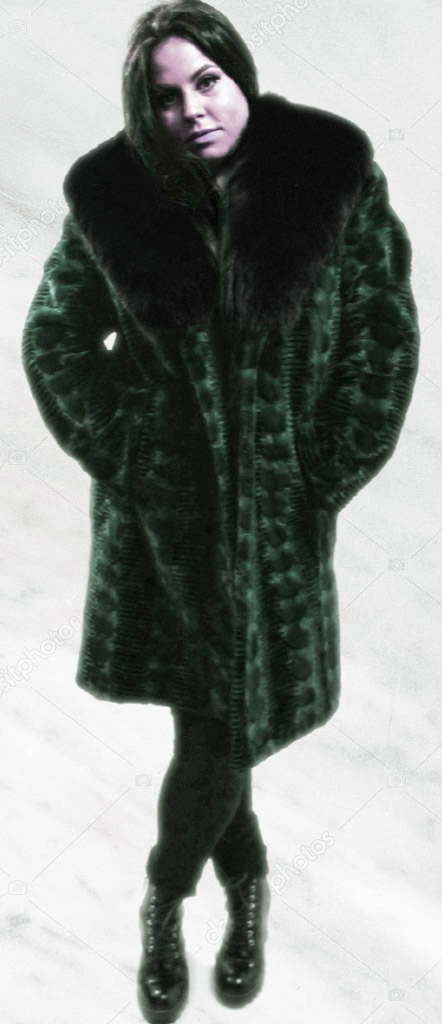 Green Lazor Cut Mink Fur Coat Black Fox Fur Collar