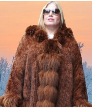 whiskey poncho fox fur trim hood