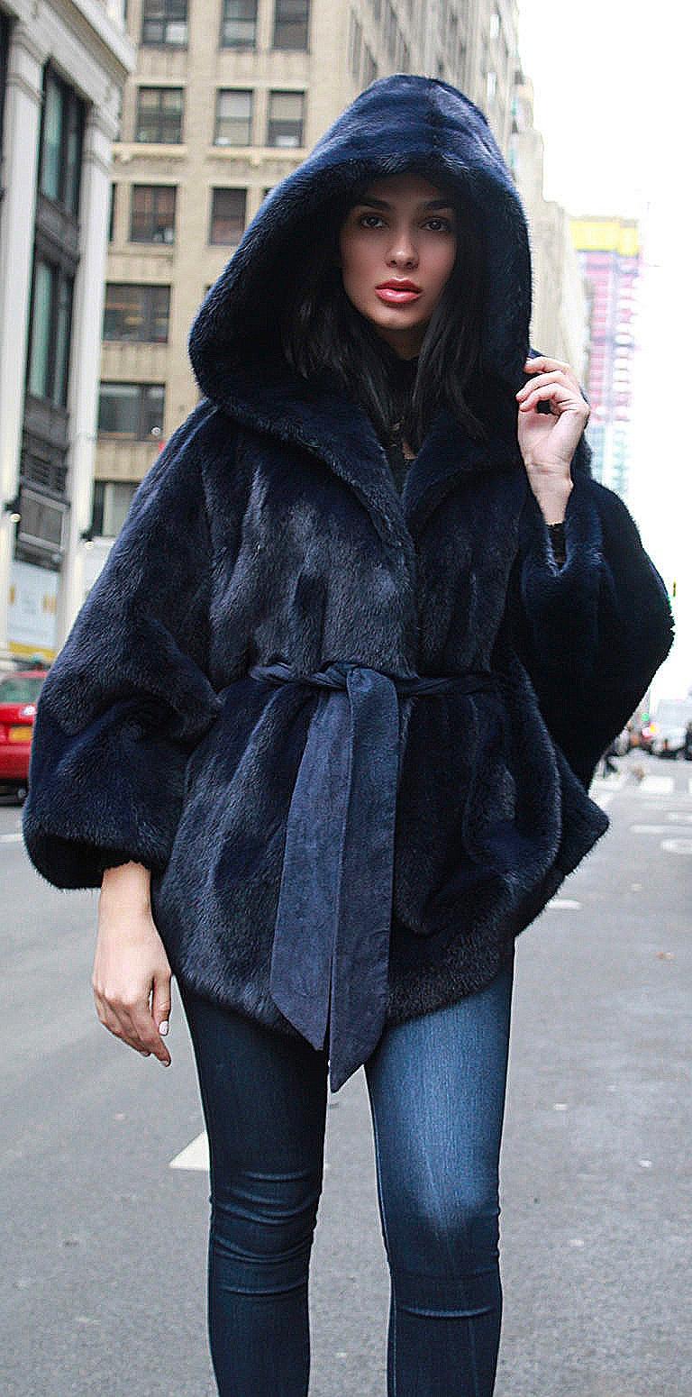 Blue hooded mink fur jacket