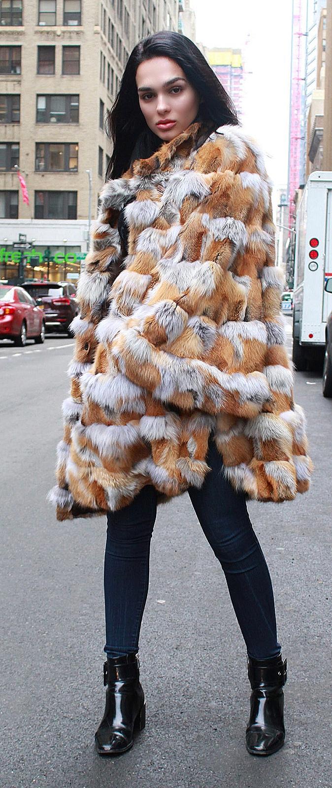 red fox fur poncho bells sleeves