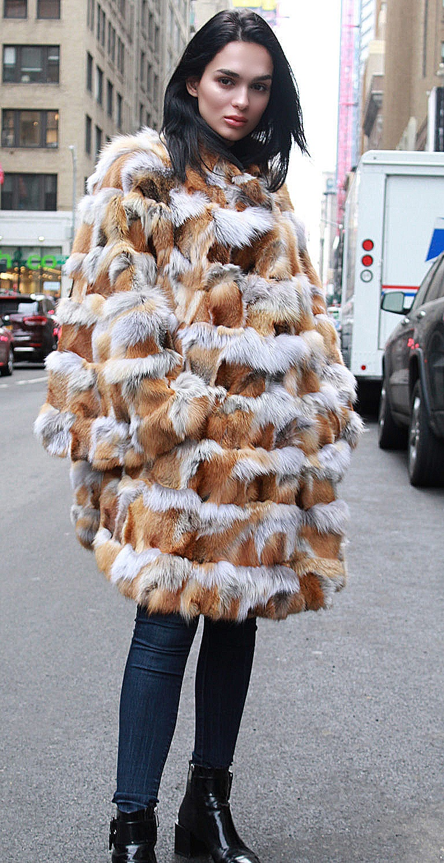 red fox fur poncho bell sleeves
