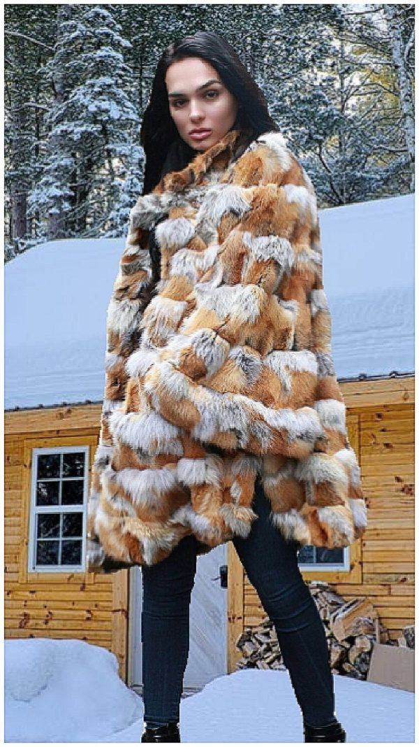 Fox fur poncho men