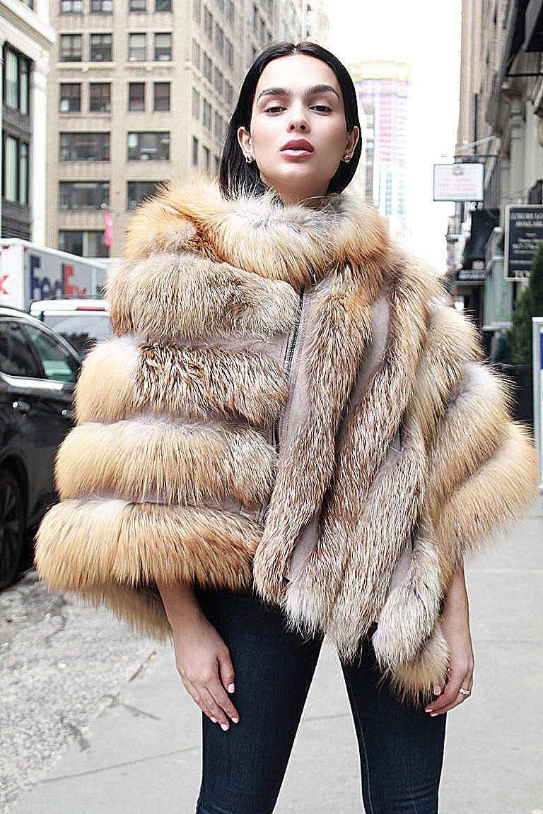 woman fur poncho