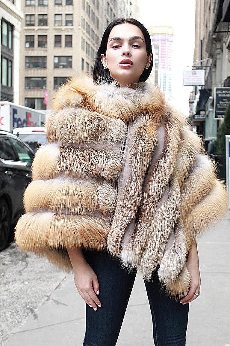 woman fur poncho