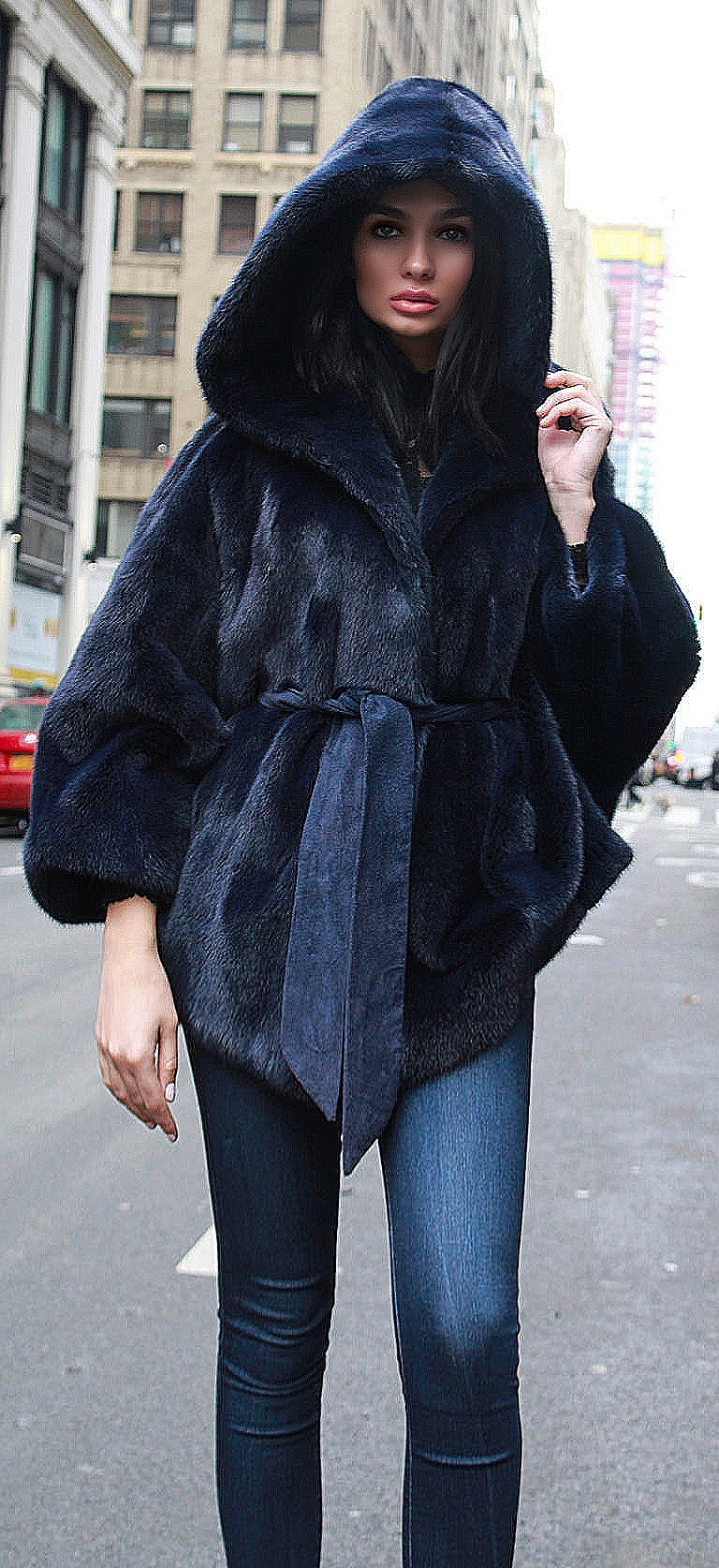Blue Hooded Mink Fur Poncho Belt
