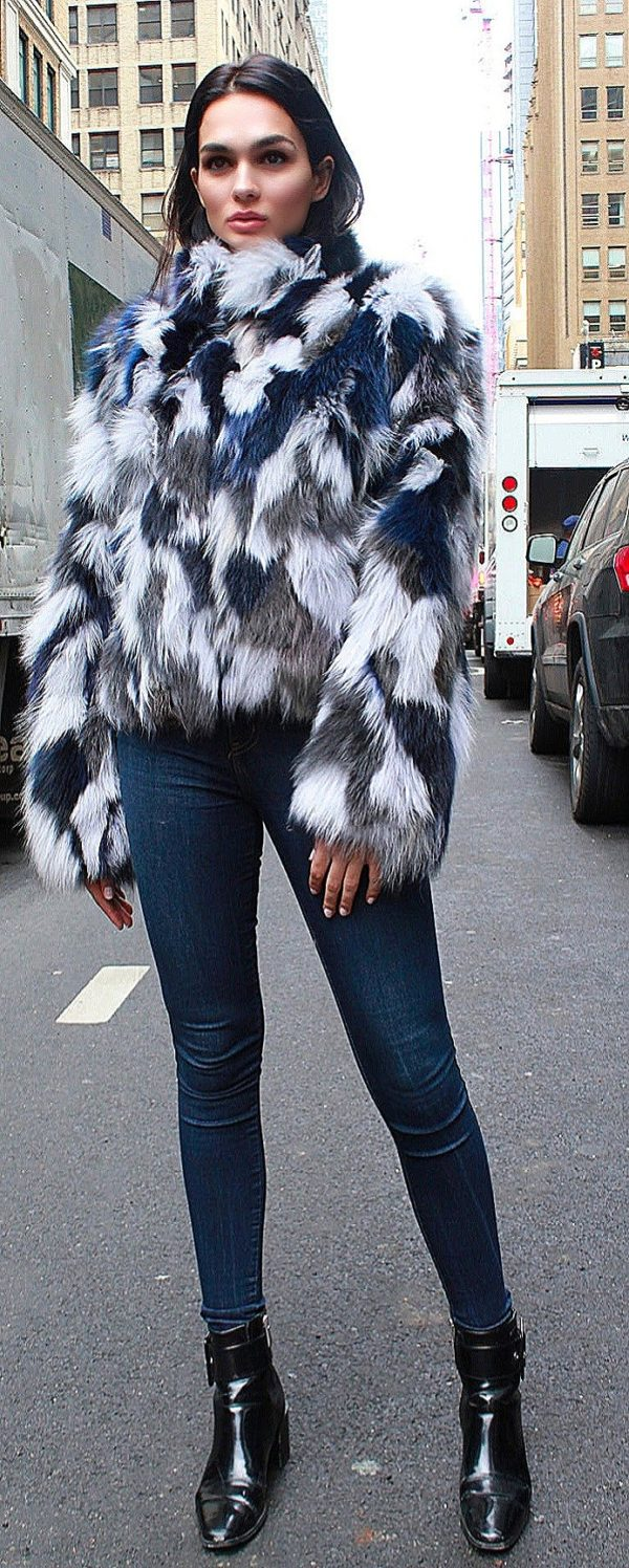 Blue White Fox Jacket