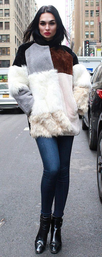 Collarless Shearling Fur Jacket