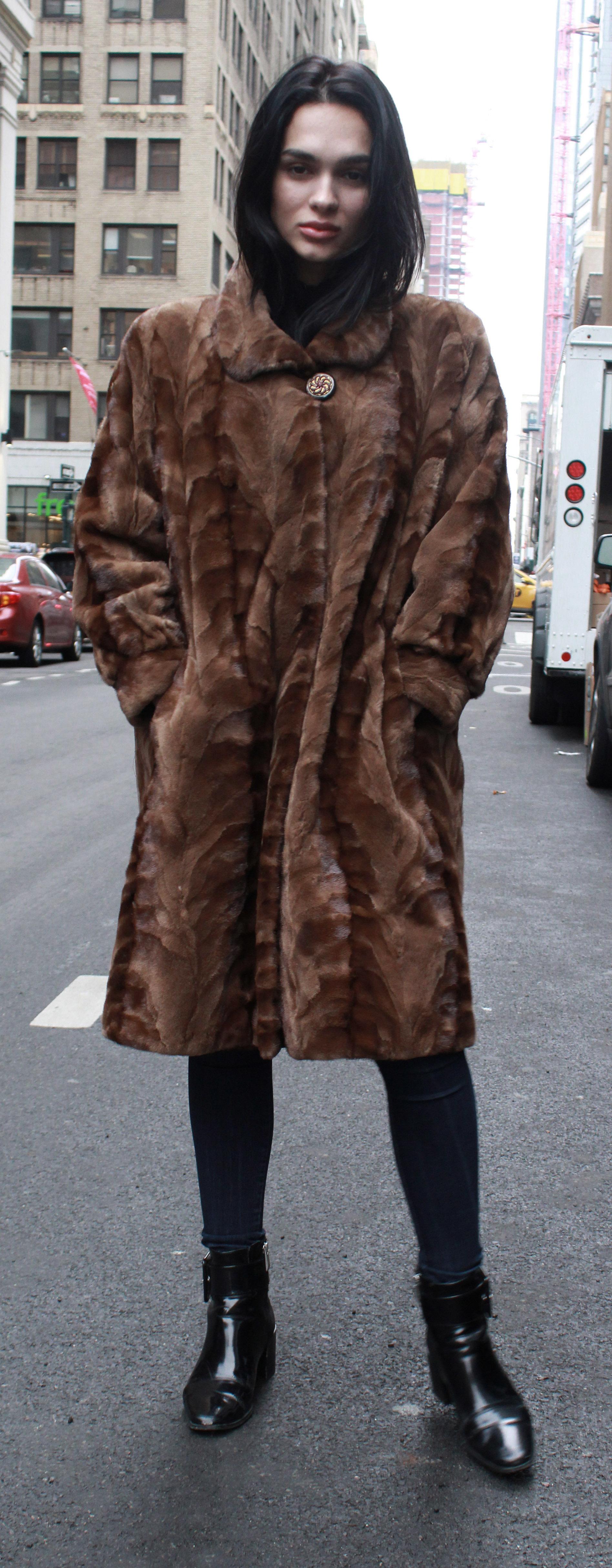 Brown Sculpted Mink Fur Coat