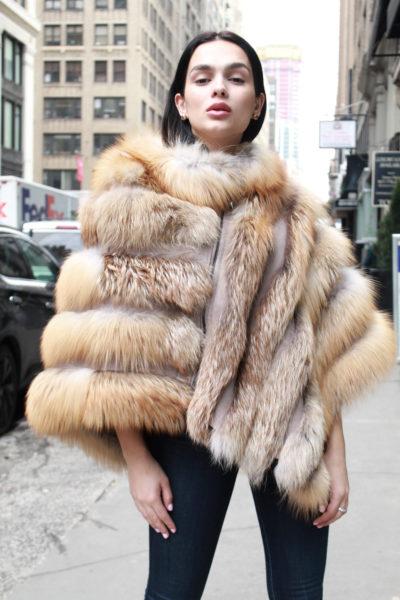 Asymmetrical Zippered Fox Fur Poncho