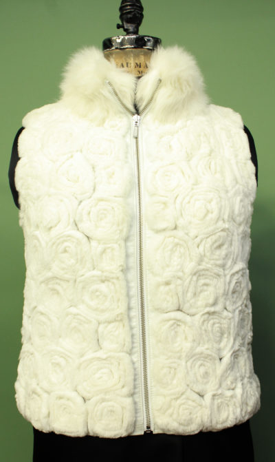 Off White Rabbit Fur Vest Floral Design