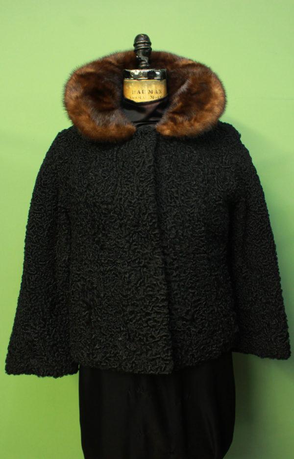 Ranch Tibetan Lamb Fur Jacket Brown Mink Fur Collar