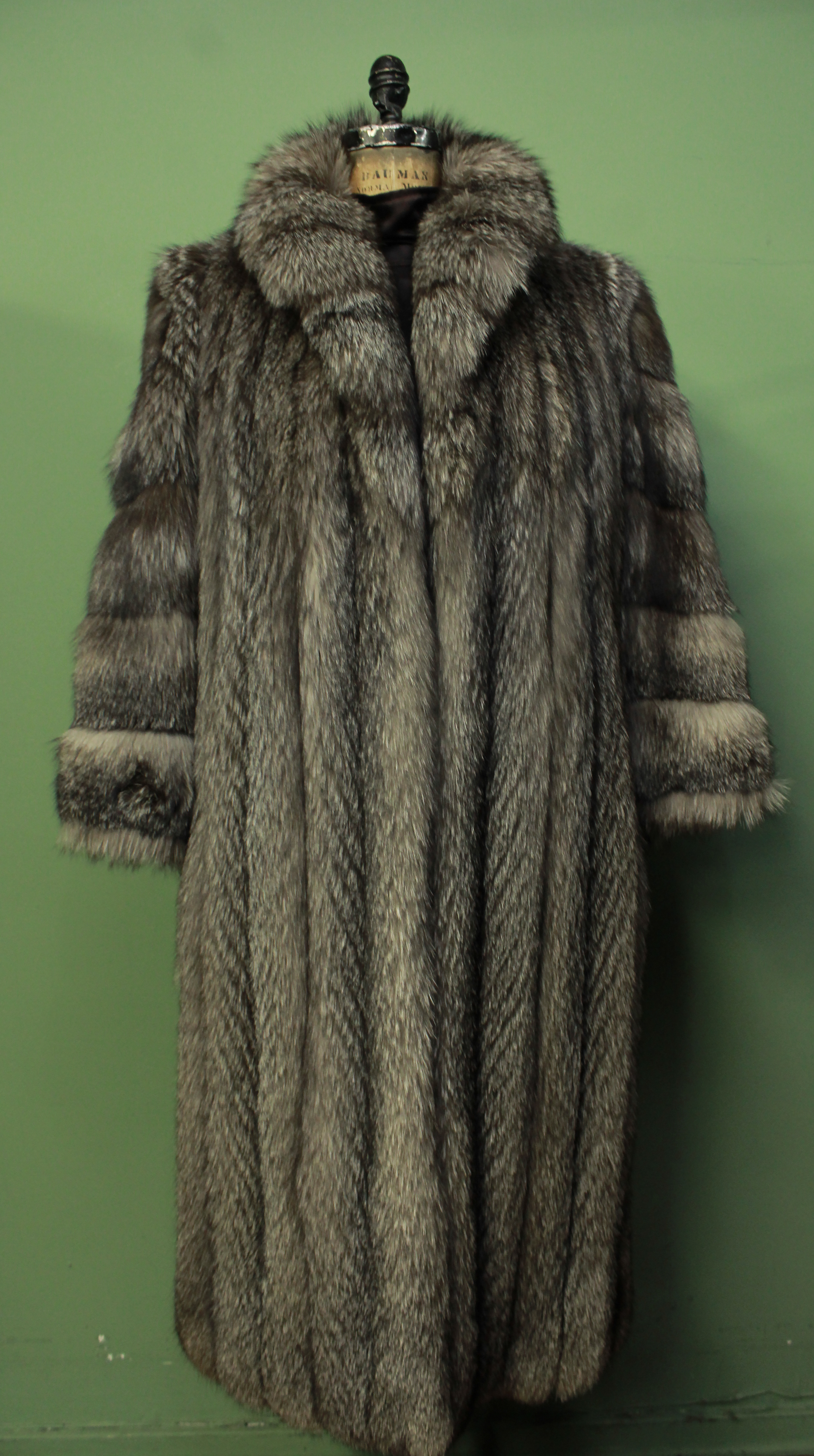 Indigo Fox Fur Coat Size