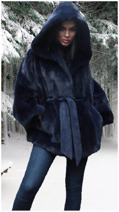 blue hooded mink fur jacket belt