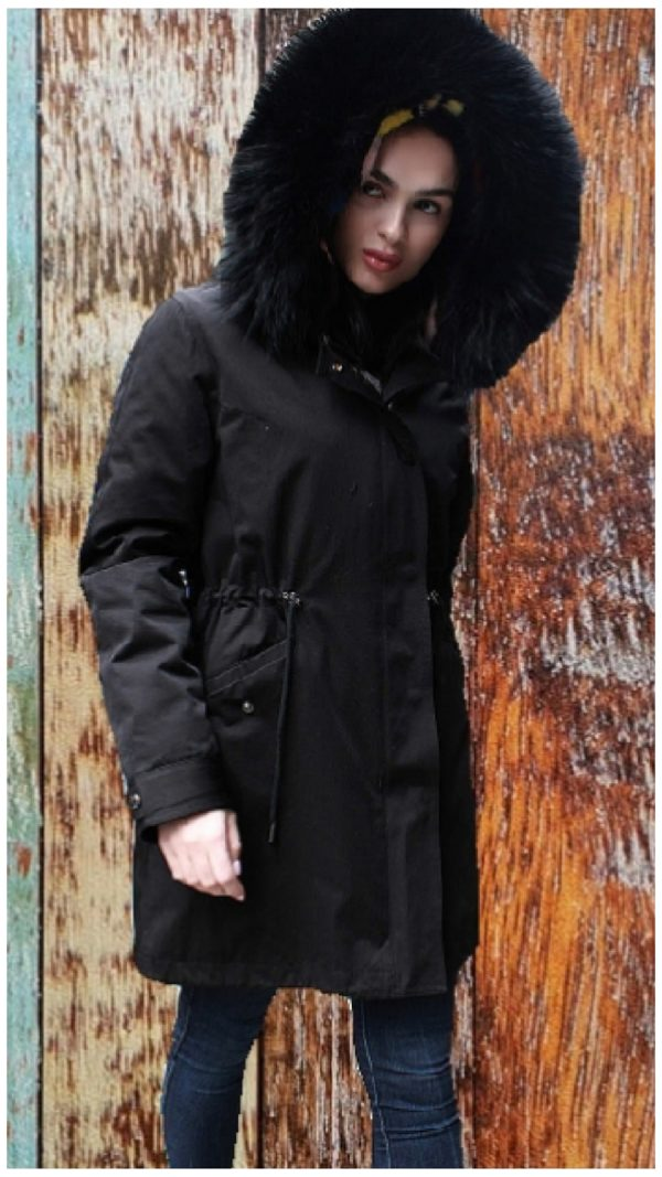 bb125c3f3e42 Black Parka Fox Fur Trimmed Hood Colorful Mink Fur Lining 84867 ...