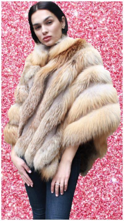Woman fox fur poncho