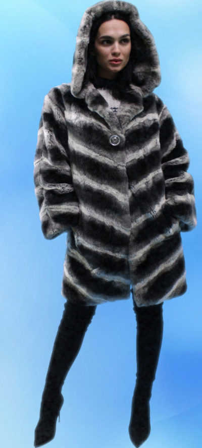 Black White Hooded Rabbit Fur Jacket