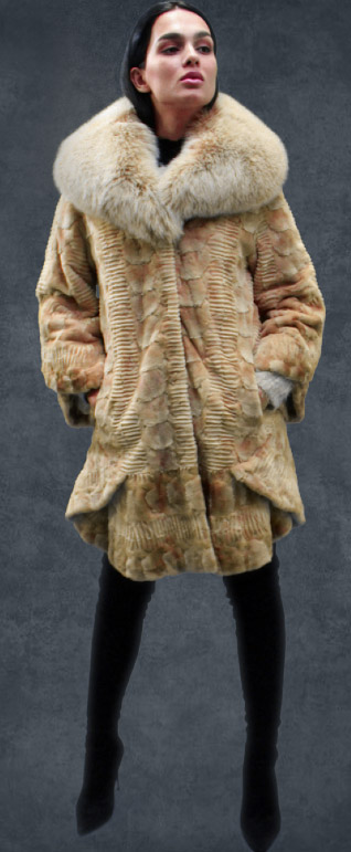 Beige Sculptured Mink Fur Mink Coat Fox Fur Collar