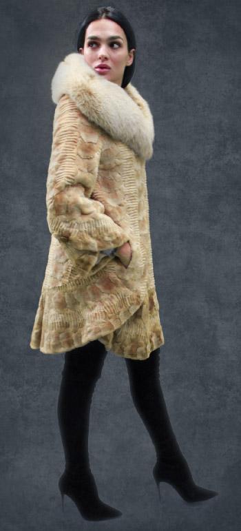 Beige Sculptured Mink Fur Mink Coat Fox Fur Collar