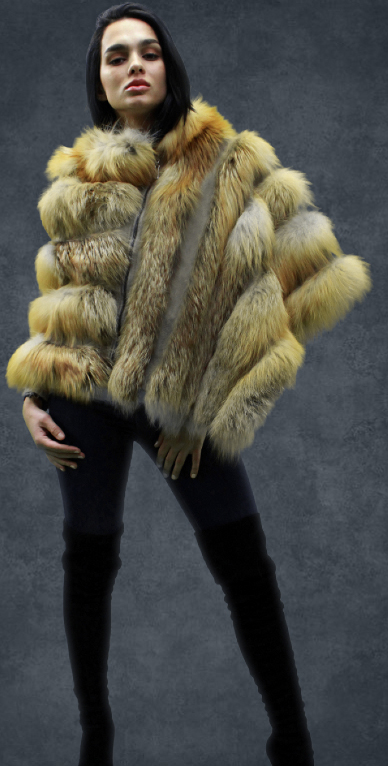 Asymmetrical Zippered Fox Fur Poncho