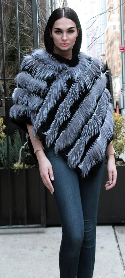 Silver Fox Black Rex Fox Fur Poncho