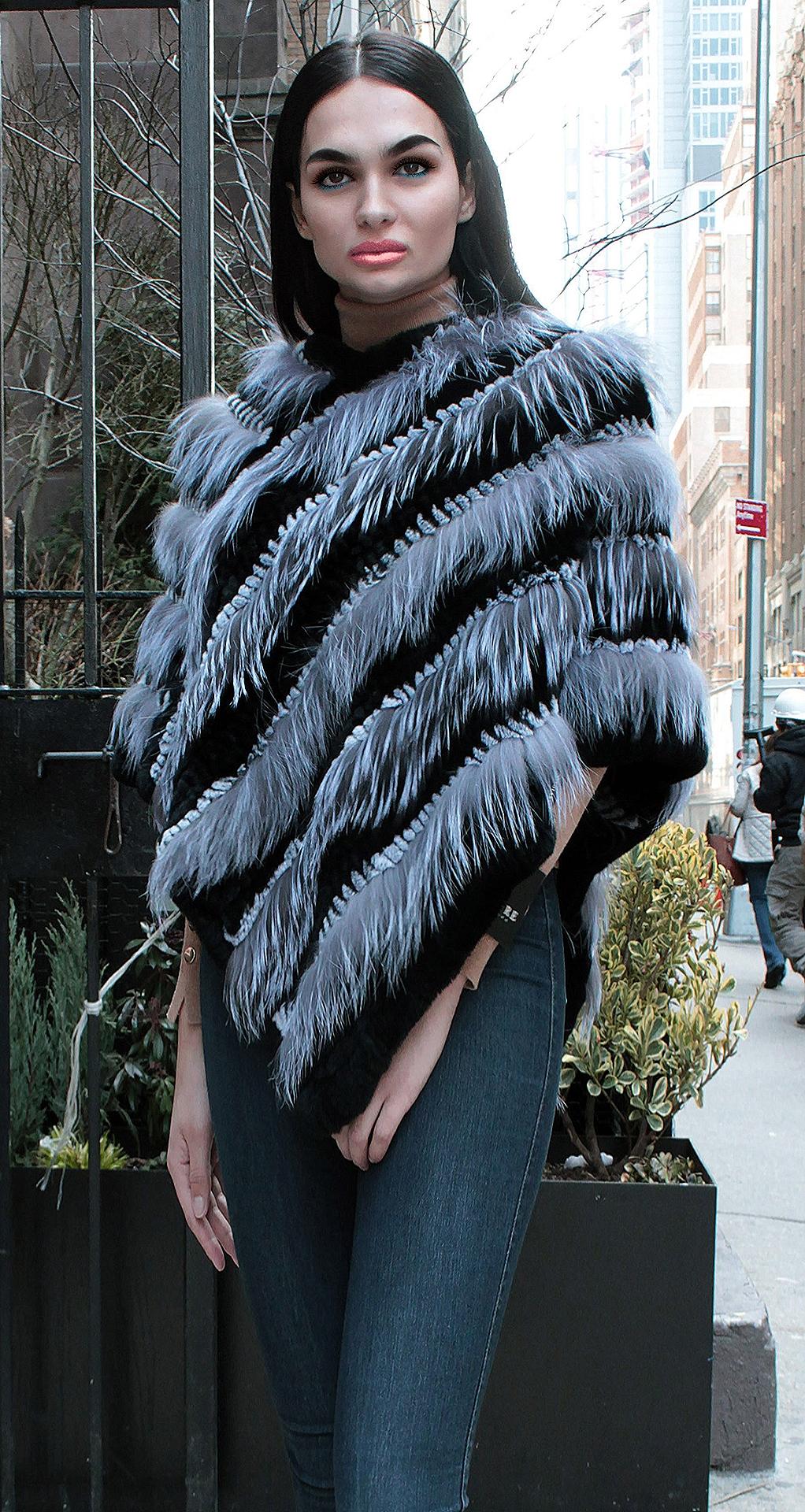 Silver Fox Black Rex Fox Fur Poncho