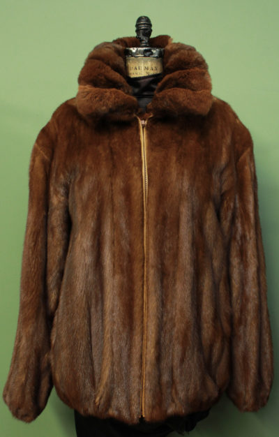 Mens Whiskey Mink Fur Jacket Chinchilla Fur Collar