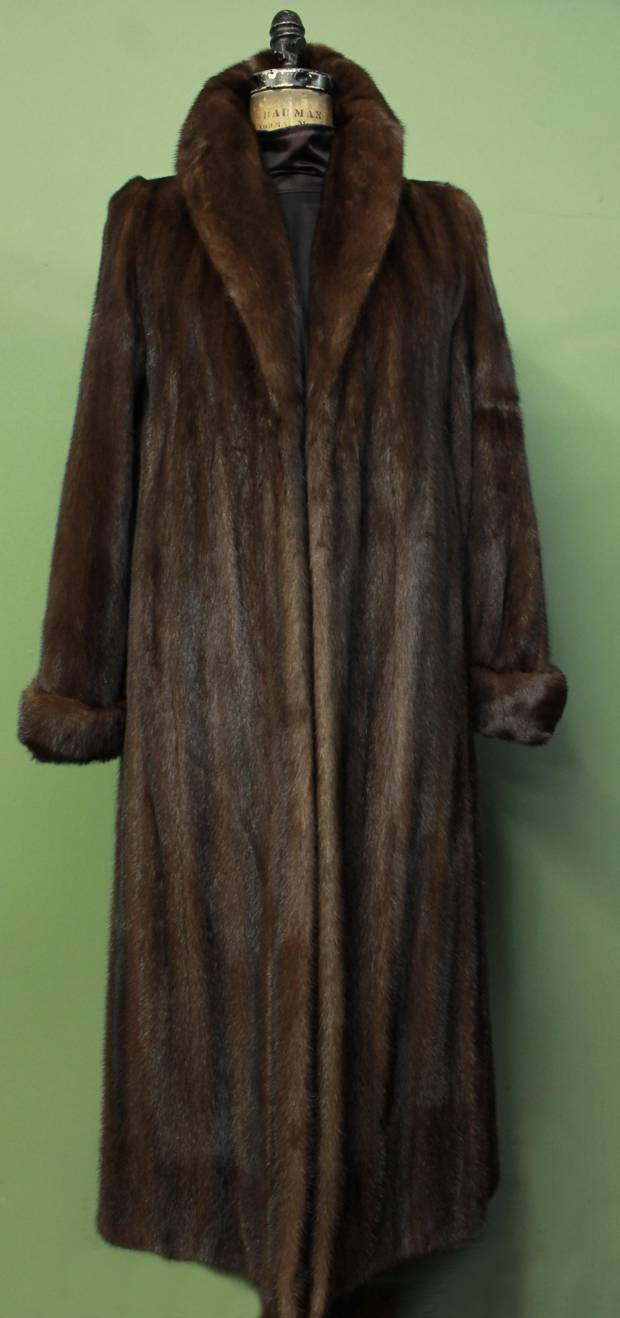 Full Length Mahogany Mink Fur Coat